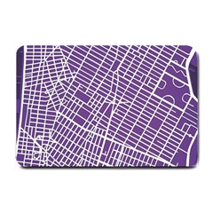 New York Map Art City Street Purple Line Small Doormat