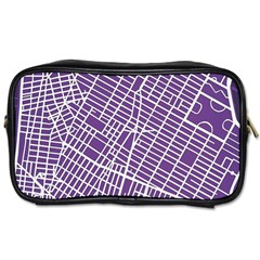 New York Map Art City Street Purple Line Toiletries Bags 2 Side by AnjaniArt