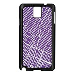 New York Map Art City Street Purple Line Samsung Galaxy Note 3 N9005 Case (Black) Front