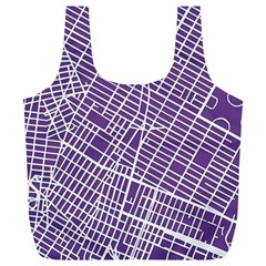 New York Map Art City Street Purple Line Full Print Recycle Bags (l)  by AnjaniArt