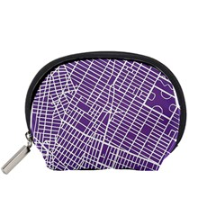 New York Map Art City Street Purple Line Accessory Pouches (small)  by AnjaniArt