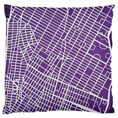 New York Map Art City Street Purple Line Standard Flano Cushion Case (two Sides)