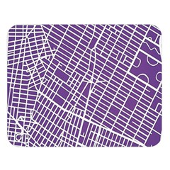 New York Map Art City Street Purple Line Double Sided Flano Blanket (large)  by AnjaniArt