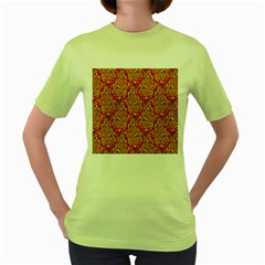 Flower Rose Red Yellow Sexy Women s Green T Shirt