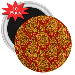 Flower Rose Red Yellow Sexy 3  Magnets (10 Pack)