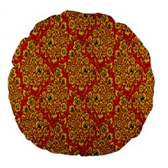 Flower Rose Red Yellow Sexy Large 18  Premium Flano Round Cushions