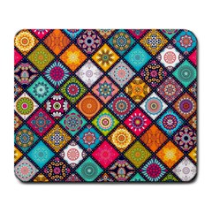 Flower Star Sign Rainbow Sexy Plaid Chevron Wave Large Mousepads by AnjaniArt