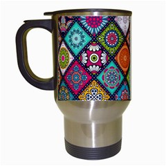 Flower Star Sign Rainbow Sexy Plaid Chevron Wave Travel Mugs (white) by AnjaniArt