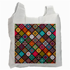 Flower Star Sign Rainbow Sexy Plaid Chevron Wave Recycle Bag (one Side) by AnjaniArt