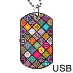Flower Star Sign Rainbow Sexy Plaid Chevron Wave Dog Tag Usb Flash (two Sides) by AnjaniArt