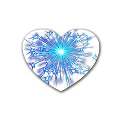 Fireworks Sky Blue Silver Light Star Sexy Heart Coaster (4 Pack)