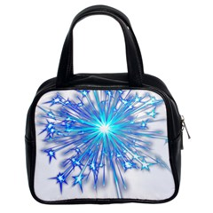 Fireworks Sky Blue Silver Light Star Sexy Classic Handbags (2 Sides)