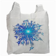 Fireworks Sky Blue Silver Light Star Sexy Recycle Bag (one Side) by AnjaniArt