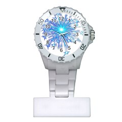 Fireworks Sky Blue Silver Light Star Sexy Plastic Nurses Watch by AnjaniArt