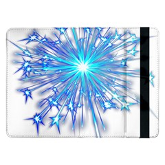 Fireworks Sky Blue Silver Light Star Sexy Samsung Galaxy Tab Pro 12 2  Flip Case by AnjaniArt