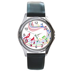 Rainbow Red Green Yellow Music Tones Notes Rhythms Round Metal Watch by AnjaniArt