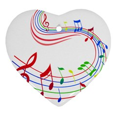 Rainbow Red Green Yellow Music Tones Notes Rhythms Ornament (heart)