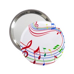 Rainbow Red Green Yellow Music Tones Notes Rhythms 2 25  Handbag Mirrors by AnjaniArt