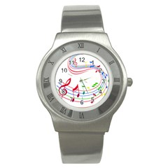 Rainbow Red Green Yellow Music Tones Notes Rhythms Stainless Steel Watch by AnjaniArt