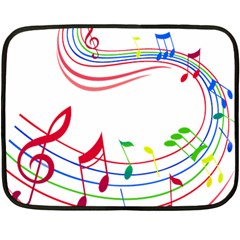 Rainbow Red Green Yellow Music Tones Notes Rhythms Fleece Blanket (mini) by AnjaniArt