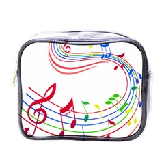 Rainbow Red Green Yellow Music Tones Notes Rhythms Mini Toiletries Bags by AnjaniArt