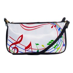 Rainbow Red Green Yellow Music Tones Notes Rhythms Shoulder Clutch Bags