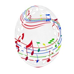 Rainbow Red Green Yellow Music Tones Notes Rhythms Oval Filigree Ornament (two Sides) by AnjaniArt