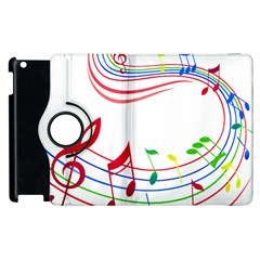 Rainbow Red Green Yellow Music Tones Notes Rhythms Apple Ipad 3/4 Flip 360 Case by AnjaniArt