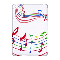 Rainbow Red Green Yellow Music Tones Notes Rhythms Apple Ipad Mini Hardshell Case (compatible With Smart Cover) by AnjaniArt