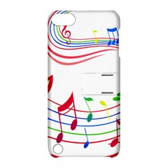 Rainbow Red Green Yellow Music Tones Notes Rhythms Apple Ipod Touch 5 Hardshell Case With Stand by AnjaniArt