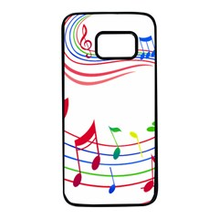 Rainbow Red Green Yellow Music Tones Notes Rhythms Samsung Galaxy S7 Black Seamless Case by AnjaniArt