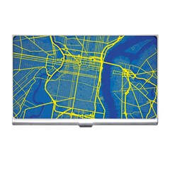 Philadelphia New York Map Art City Business Card Holders by AnjaniArt