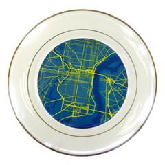 Philadelphia New York Map Art City Porcelain Plates