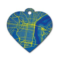 Philadelphia New York Map Art City Dog Tag Heart (one Side)