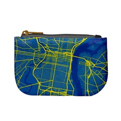 Philadelphia New York Map Art City Mini Coin Purses by AnjaniArt