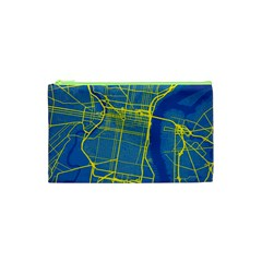 Philadelphia New York Map Art City Cosmetic Bag (xs) by AnjaniArt