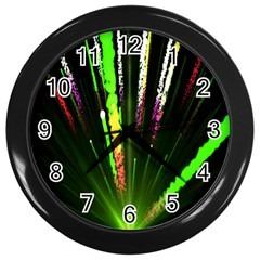 Seamless Colorful Green Light Fireworks Sky Black Ultra Wall Clocks (black) by AnjaniArt