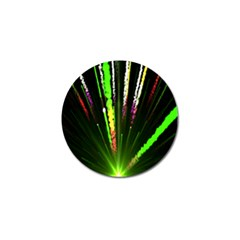 Seamless Colorful Green Light Fireworks Sky Black Ultra Golf Ball Marker (4 Pack) by AnjaniArt