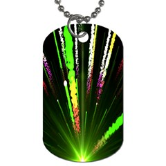 Seamless Colorful Green Light Fireworks Sky Black Ultra Dog Tag (two Sides)