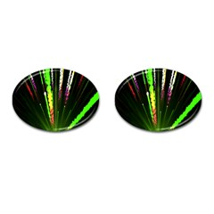 Seamless Colorful Green Light Fireworks Sky Black Ultra Cufflinks (oval)