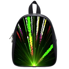 Seamless Colorful Green Light Fireworks Sky Black Ultra School Bag (small)