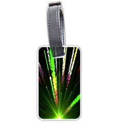 Seamless Colorful Green Light Fireworks Sky Black Ultra Luggage Tags (one Side)  by AnjaniArt