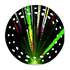 Seamless Colorful Green Light Fireworks Sky Black Ultra Ornament (round Filigree) by AnjaniArt