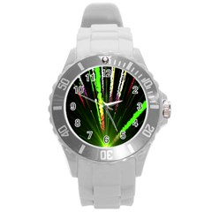 Seamless Colorful Green Light Fireworks Sky Black Ultra Round Plastic Sport Watch (l)