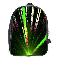 Seamless Colorful Green Light Fireworks Sky Black Ultra School Bag (xl)