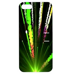 Seamless Colorful Green Light Fireworks Sky Black Ultra Apple Iphone 5 Hardshell Case With Stand