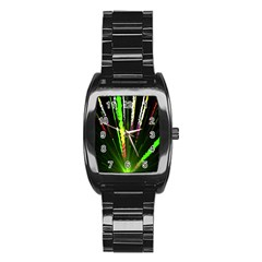Seamless Colorful Green Light Fireworks Sky Black Ultra Stainless Steel Barrel Watch by AnjaniArt