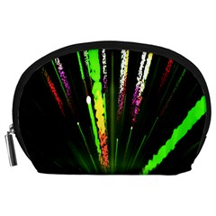 Seamless Colorful Green Light Fireworks Sky Black Ultra Accessory Pouches (large)  by AnjaniArt
