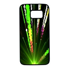 Seamless Colorful Green Light Fireworks Sky Black Ultra Samsung Galaxy S7 Black Seamless Case by AnjaniArt
