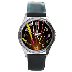 Seamless Colorful Light Fireworks Sky Black Ultra Round Metal Watch by AnjaniArt